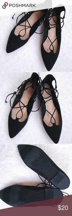 Old Navy Sueded Lace-up Ghillie Flat Old Navy Black Sueded Lace-up Pointed Toe Ghillie Flat. NWT Old Navy Shoes Flats & Loafers