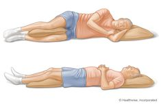 Sleeping With Back Pain   You can also put a small, rolled-up towel under your waist when on your side, or under the curve of your back, for a neutral position (not arched but not flat either).