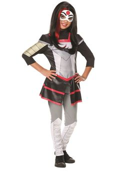 Kick it with your friends in this epic Katana costume inspired by the Web Series, DC Superhero Girls! Costume includes Katana top, pants and the Katana face mask. This costume would work excellently for any group Halloween party! #yyc #Calgary #costume #DCSuperheroGirls #DCComics #children
