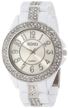 XOXO Women's Rhinestone Accent White Analog Bracelet Watch XO5460