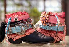 pink and blue boho upcycled cowboy boots from TheLookFactory on Etsy