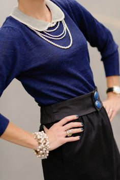 Loving black and blue right now....and pearls always!