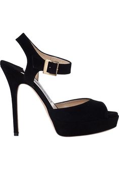 Jimmy Choo Linda Platform Sandal Black Suede - Jildor Shoes, Since 1949