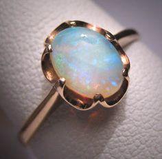 Antique Australian Opal Ring Victorian Gold Wedding 30s