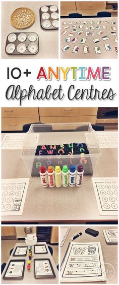 10+ Anytime Alphabet Centres! Grab lots of centre ideas for Kindergarten, including 2 FREEBIES!