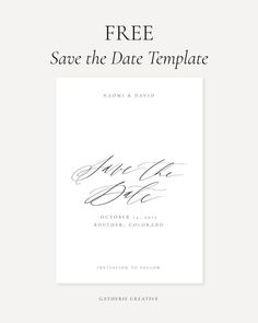 FREE Save the Date Template Design | print at home, calligraphy, simple, elegant, wedding, stationery, invitation, invite, DIY, unique, creative #savethedate