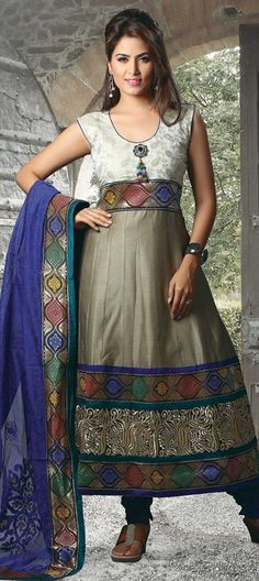 0ddcaa6b68c080 414607 Black and Grey color family Anarkali Suits in Chanderi fabric with  Machine Embroidery
