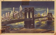 Brooklyn Bridge at Night | Brooklyn Bridge at Night, New York City, NY Postcard