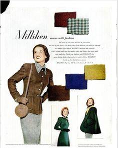 1948 Milliken fabrics ad | Simplicity patterns 2574 (suit), 2576 (jacket) and ? (dress)