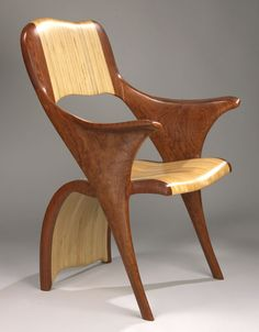 Kerry Vesper | Thatza Chair. Bubinga and Baltic Birch. Love the way it uses plywood as the contrast between dark solid wood.