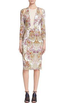 just cavalli fairy illusion cutout print three quarter sleeve dress