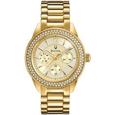 Bulova Women's Gold-Tone Stainless Steel Bracelet Watch 38mm 97N102 ($319) ❤ liked on Polyvore featuring jewelry, watches, accessories, bracelets, gold tone bracelet, bulova bracelet, bulova, gold tone jewelry and bulova wrist watch