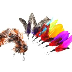 catroad Bird Replacement Feathers and Soft Furry For Interactive Cat and Kitten Toy Wands Super Refill, Assorted Colors Cat Toys 9PCS -- Stop everything and read more details here! : Cat toys
