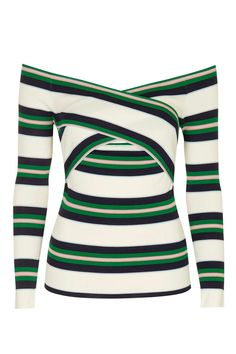 Stripe Bardot Off-The-Shoulder Top