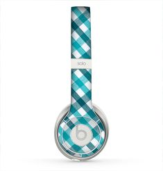 The Vintage Blue & Black Plaid Skin for the Beats by Dre Solo 2 Headphones
