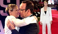 Robin Wright and Kevin Spacey embrace at House Of Cards premiere