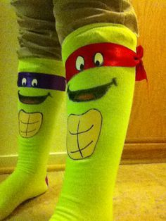 Made these cool Ninja turtle socks for crazy sock day so easy an fun to make!