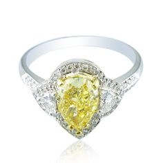 2.15 CT Pave and Halo 3 Stone Style Fancy Yellow Diamond Engagement Ring 18K WG