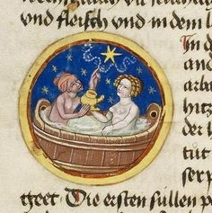 Description Framed medallion: In a bath tub, a man and a woman are sitting holding an oil jug with one hand each and looking heavenward to a star pointing to the outstretched forefinger of his left hand. Illuminated Letters, Illuminated Manuscript, Bizarre Pictures, Renaissance Era, Medieval Life, Beautiful Calligraphy, Book Of Hours, Medieval Manuscript, Historical Images