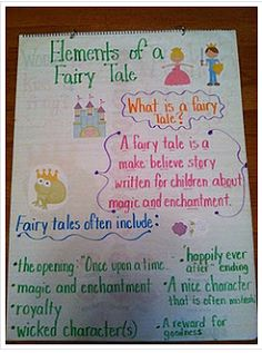 Anchor Chart: Elements of Fairy Tales (Writing Workshop for Young Adults Program Plan?) Great idea using clipart on an anchor chart Traditional Literature, Traditional Tales, Readers Workshop, Writing Workshop, Fractured Fairy Tales, Fairy Tales Unit, Fairy Tale Theme, Reading Anchor Charts, Library Lessons