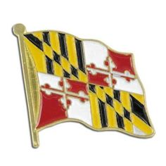 """Maryland Flag Lapel Pin by US Flag Store. $1.29. Baked Enamel Finish. Approx 3/4"""" x 1/2"""". State Flag Lapel Pin. Low Cost Shipping Available!. Gold Metal Lacquered Design and Clutch Pin. The Maryland flag lapel pin is a great way to show your support for your state. Our pins cost less than our competitors, but are equal or higher quality. We sell thousands of pins a week, and we pass the savings on to you! This Maryland Flag lapel pin has an all gold metal lacquered design wi..."""