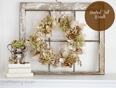 Craftberry Bush: Burlap, canvas and hydrangeas....A Fall Wreath, I really love this drop cloth burlap rendition that includes dried hydrangeas and roses, perfect on that window!