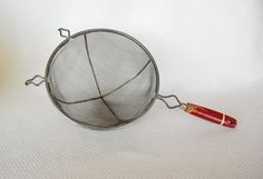 Vintage Red Handle Strainer by A & J Manufacturing Company Large Metal Sieve Strainer with Chippy Red Handle on Etsy, $15.00