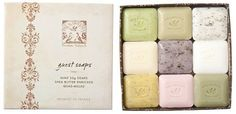 Pre De Provence Assorted Soap Giftset - 9 Piece by Pre de Provence. $16.15. Quad Milled. Includes 9 different scents:  White Gardenia, Honey Almond, Rose, Linden, Verdena, Lavender, Sage, Milk, Coconut. Made in France. Each soap is 25 grams (.88 oz). Can't decide on a single fragrance? Pre de Provence Gift Box with 9 Soaps provides a cleansing and fragrant treat for those who can't make up their mind.Each Box contains one Lavender (0.88 fl. oz.), Sage (0.88 fl. oz.), Milk (0.88...