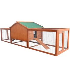 Wooden Rabbit Hutch Large Chicken Coop Pet Habitat House Animal Cage w/ Ramp Run | aosom.co.uk