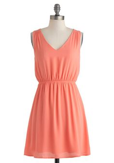 Glam Go-To Dress - Mid-length, Coral, Solid, Bows, Casual, A-line, Sleeveless, V Neck, Daytime Party, Minimal