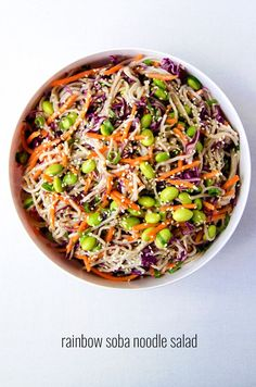 Rainbow Soba Noodle Salad - Colorful veggies and chewy soba noodles all tossed together with a flavorful sesame garlic and lime dressing. It's super easy and can be made ahead of time too! Gf Recipes, Indian Food Recipes, Asian Recipes, Whole Food Recipes, Vegetarian Recipes, Cooking Recipes, Healthy Recipes, Soba Salad, Noodle Salad