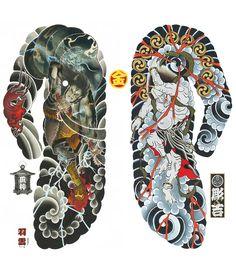 "Tattoo Prints by Yushi ""Horikichi"" Takei & Shane Tan – Kintaro Publishing Yakuza Tattoo, Tattoo Samurai, Japanese Tattoo Art, Japanese Tattoo Designs, Japanese Sleeve Tattoos, Kunst Tattoos, Body Art Tattoos, Raijin Tattoo, Hannya Maske"
