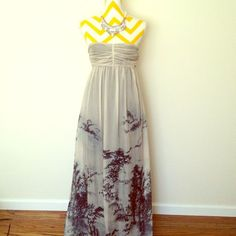 Host Pick Zara Silk Organza Gown Beautiful Zara floor length gown .  Has beautiful unique print. Wore to a wedding once. Has small imperfections that are not noticeable as the silk is very fine.  Elastic back with side zipper. Price FIRM unless bundled. No trades Zara Dresses