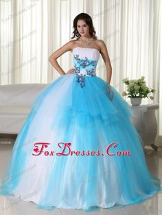 Quinceanera Decorated With Applique, Aquamarine would be good over the white for my baby girl since her birthday is in March.