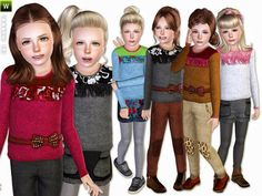 Two knit sweater, woolen shorts and pants by lillka - Sims 3 Downloads CC Caboodle