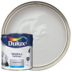 Dulux Silk is a smooth and creamy emulsion paint for use on walls and ceilings which is ideal for a delicate shine finish. Dulux White Mist, Dulux White Cotton, Dulux Blue, Dulux Polished Pebble, Paintings, Colors
