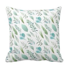 Modern Watercolor Teal Green Teal Blue Leaves Throw Pillow - modern gifts cyo gift ideas personalize