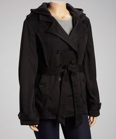 Another great find on #zulily! Black Fleece Hooded Peacoat - Plus by Yoki #zulilyfinds