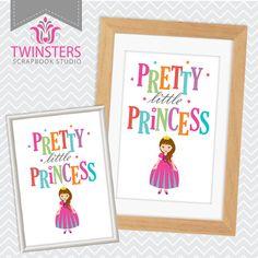 "Pretty Little Princess - printable pink kids room wall decor 8x10"", 5x7"" ? wordart TW121 INSTANT DOWNLOAD"