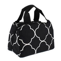 Monogram Black quatrefoil   Lunch box/Personalize lunch box/lunch box/lunch bag/lunch tote by sewsassybootique on Etsy