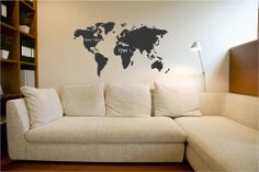 World Map Chalkboard vinyl wall decal by VinylLettering on Etsy, $28.99