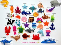 Sea creatures, fishes, shark, dolphin, seastar, octopus, ray, x-ray fish, pufferfish, coral, seahorse, squid, pearl shell, sawfish, lobster, crab, seasnail, tigershark treasure chest, anglerfish, whale
