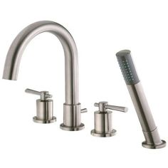 Belle Foret Modern Roman Tub Faucet with Handheld Showerhead in Brushed Nickel FR2D4101BNV
