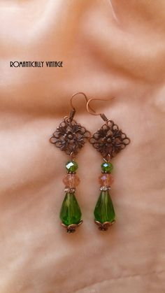 Vintage Filigree Feminine Earrings Green  by RomanticallyVintage, $34.00