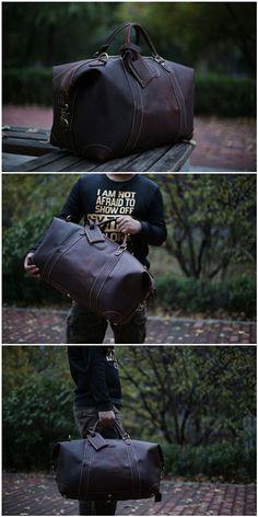 Vintage Genuine Cowhide Leather Travel Bag / Duffle Bag / Weekender Bag