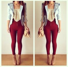 outfit with red pants - Google Search