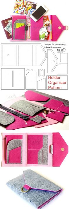 Tutorial. Easy to sew bright felt organizer. How to sew a Purse-Holder.