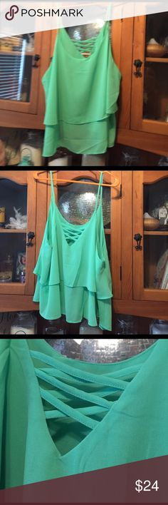 Sea green blouse Layered light weight blouse! Super fun and new! Tops Blouses
