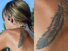 Juliet Simms Feather Tattoo On Her Left Shoulder Blade Is A Feather Indian Feather Tattoos, Feather Tattoo Meaning, Tattoos With Meaning, Tattoo Feather, Cherokee Indian Women, Cherokee Indian Tattoos, Cherokee Rose, Trendy Tattoos, Girl Tattoos