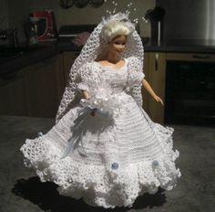 Wedding Doll, Barbie Wedding, Barbie Style, Crochet Doll Clothes, Crochet Dolls, Barbie Clothes, Barbie Dolls, American, Doll Dresses